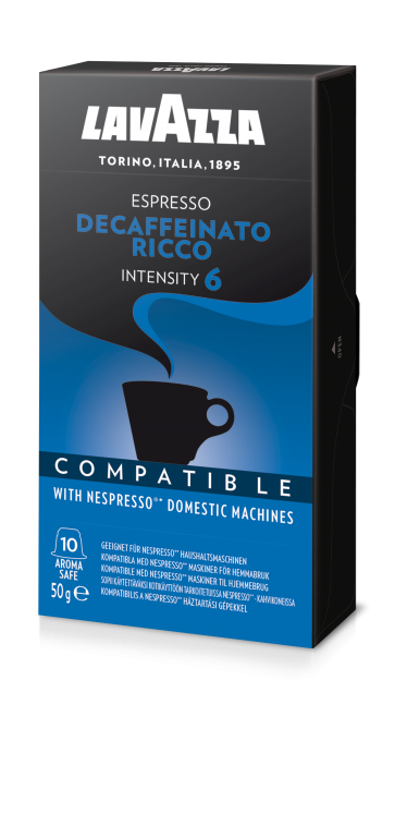 Lavazza Decaf Ricco, 10 Capsules Compatible with Nespresso®** Machines